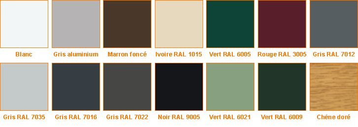 Coloris coffre disponibles